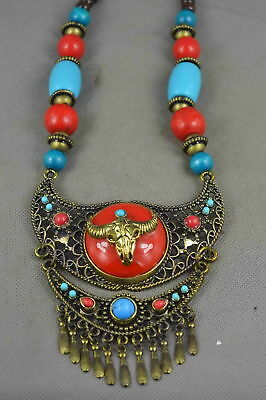 Collection Copper & Boxwood Agate Carve Ethnic Minorities Colorful Bead Necklace