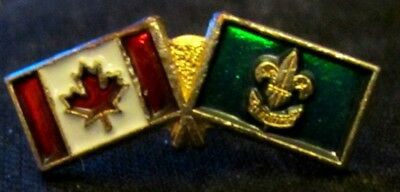 Boy Scouts Canada Flag Plus Scout Flag On Gold Color Small Pin Mint