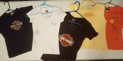 Harley-Davidson Lot of 5 Shirts / T Shirts Womens Extra Small Ladies Excellent