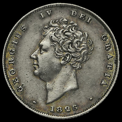 1826 George IV Bare Head Milled Silver Shilling, Near EF