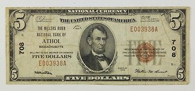 1929 $5 Millers River National Bank Of Athol Ma Massachusetts Note