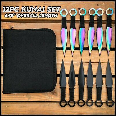 "3PC 8"" BlacK Tactical Ninja Combat Naruto Kunai Throwing Knife Set Hunting +Case"