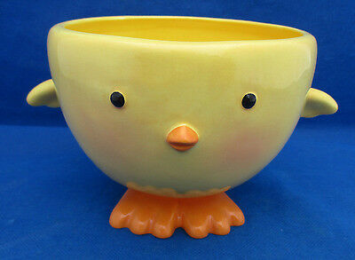 """Adorable BABY CHICK BOWL Hallmark Candy Soup Display Bright Yellow Easter 5"""" EUC"""