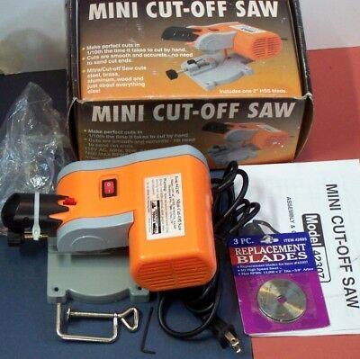 """Mini Cut-Off Saw #42307 in box 3 extra 2"""" blades instruction sheet & clamp"""