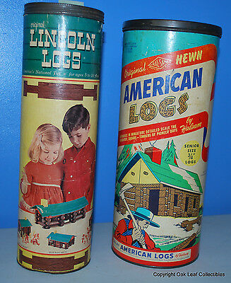 Vintage Halsam Square American Logs 2 Canisters 4 POUNDS of logs.