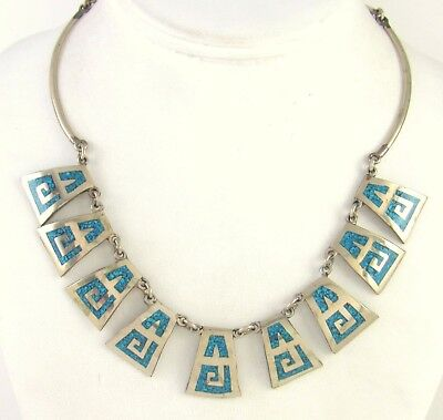 """Vintage Mexican Handmade Nickel Silver Turquoise Chip Inlay Necklace 16"""" 