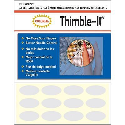New Thimble it Finger Pads - By Colonial - 64 Self Stick Ovals