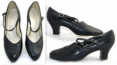 Women Black Leather With Strap Tap Dance Heel Shoes Sz: 10 Us