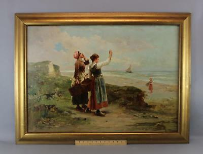 Antique French Impressionist Beach Oil Painting, Women Wave Farewell to Sailboat