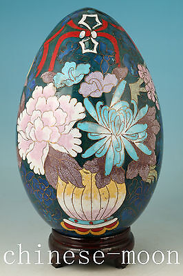 Big Chinese Coloured Cloisonne Hand Painting Flower Egg Home Ornament With Wood