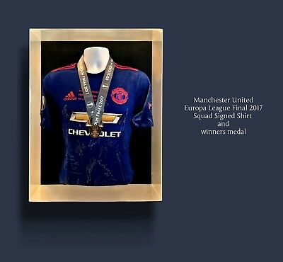 Rare Manchester United Signed Europa League Final Shirt & Medal Display Champion