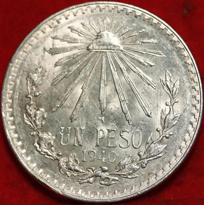 Uncirculated 1940 Mexico Peso Silver Foreign Coin Free S/H