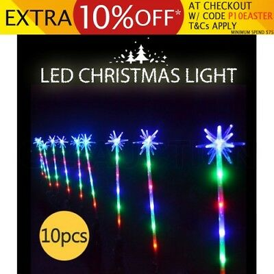 10PCS Multi-colour Christmas LED Path Poles Xmas Decor Light 8 Function Flashing