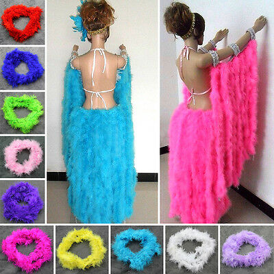 2M Length Feather Boa Strip Fluffy Costume Hen Night Dressup Wedding Fancy DIY