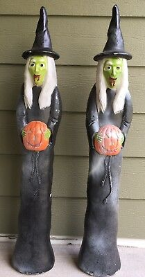 """Halloween Witches Blow Mold Don Featherstone 36"""" Union Products Lot of 2 Molds"""