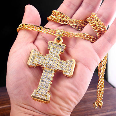 1x Men's 70*50mm Big Cross Pendant Inlaid Rhinestone Long Sweater Chain Necklace