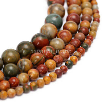 Natural Retro Picasso Round 1 Strand Loose Spacer Bead Stone Jewelry DIY 4-12mm