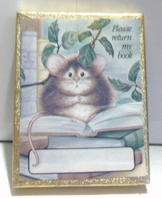 Antioch Book Plates Mouse Sitting On Open Book 45