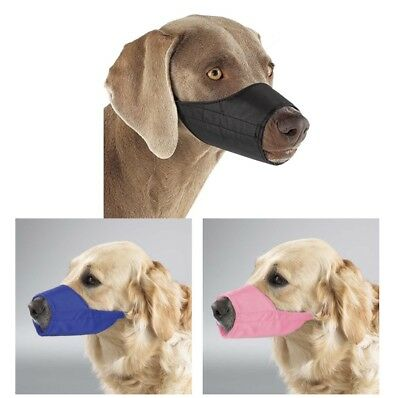 Dog Puppy Lined Muzzle - Guardian Gear - Adjustable Strap - Pink Black Blue