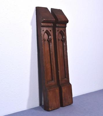 *Pair of French Antique Gothic Revival Posts/Trim/Panels in Oak Wood Salvage