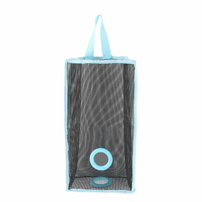 Kitchen Bathroom PVC Mesh Wall Hanging Grocery Bag Holder Storage Container Blue