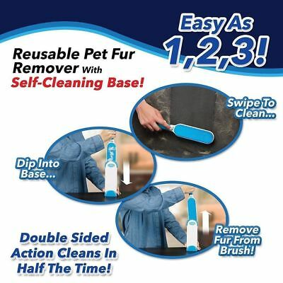 Pet Fur & Lint Remover Hurricane Fur Wizard Self-Cleaning Base Reusable Brush oz
