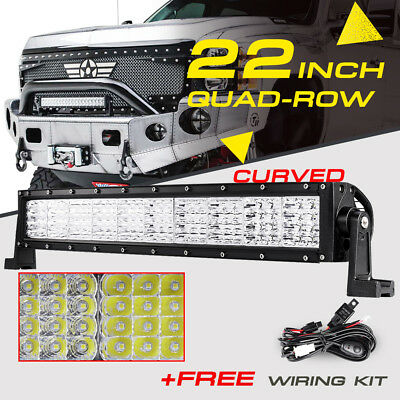 "22"" 1440W Quad-Row Curved CREE LED Light Bar Spot Flood Offroad For Jeep Ford 24"
