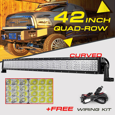 "Quad-Row 42"" 2880W Curved CREE LED Light Bar Flood Spot Combo Offroad 4WD 32/50"""