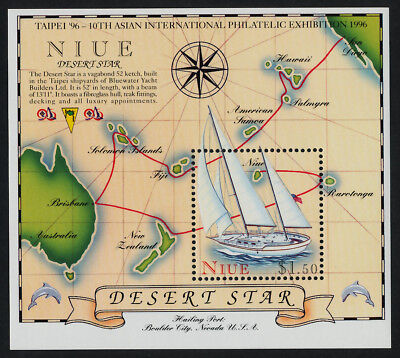 Niue 683 MNH Yacht, Map