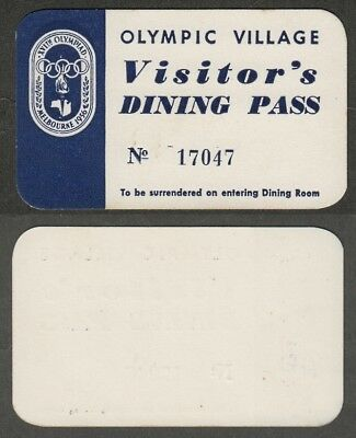 644)  Australia Melbourne 1956 Summer Olympic - Village Visitor's Dining Pass
