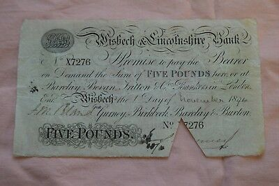 Wisbech & Lincolnshire Bank Five Pound Banknote No X7276 1st November 1894 ROUGH