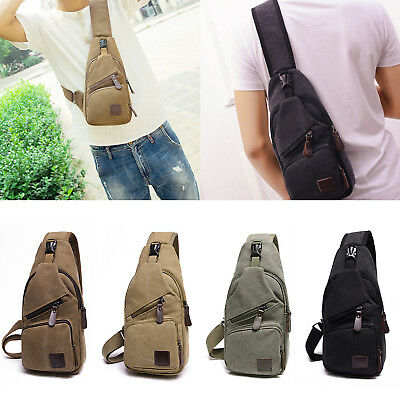 Men Canvas Bag Pack Travel Hiking Cross Body Messenger Shoulder Sling Chest UK