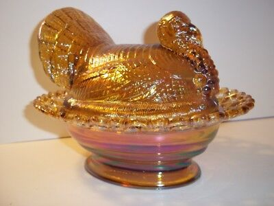 """Mosser Glass AMBER CARNIVAL 8.5"""" TURKEY ON NEST BASKET Covered Candy Dish"""