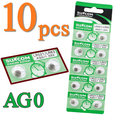 10pcs AG0 1.55V Button Battery Coin Cell Batteries For Watch Toy LR521 379A LR63