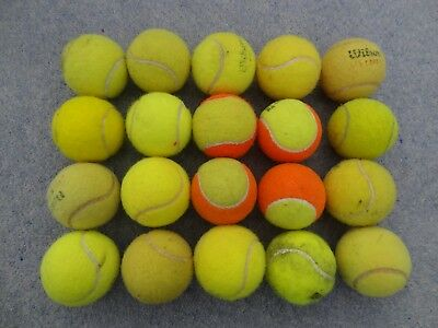 Collection of 20 USED Mixed TENNIS BALLS.
