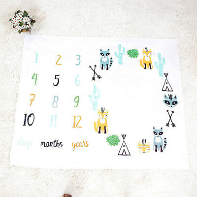 Baby Letter Milestone Blankets For Photography Photo Props Stylish Fox Blanket
