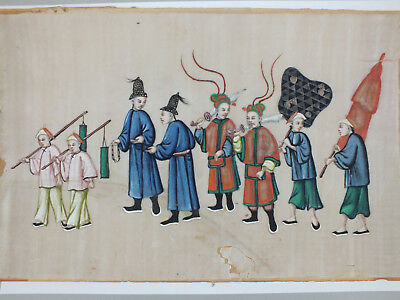 3) Fine Chinese Water Colour Painting On Rice/pith Paper Of A Male Procession