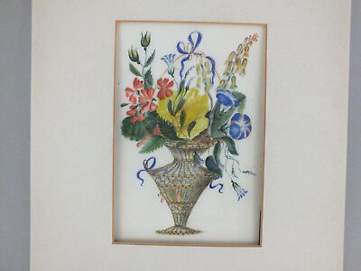 13) Fine Chinese Water Colour Painting On Rice/pith Paper Of A Vase Of Flowers