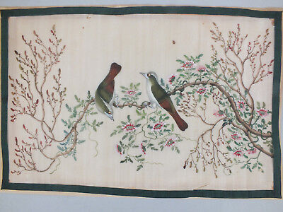 16) FINE CHINESE WATER COLOUR STUDY ON RICE/PITH PAPER OF BIRDS & BLOSSOM 19thC