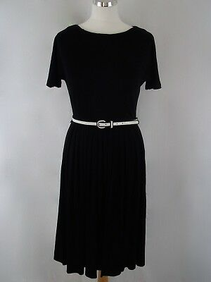 TRUE VINTAGE - 1960's Black Fit And Flare Style Belted Dress - Approx UK Size 8