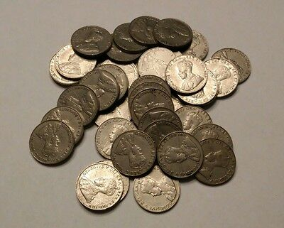 1934 Canada Nickel Roll 40 Coins Circulated