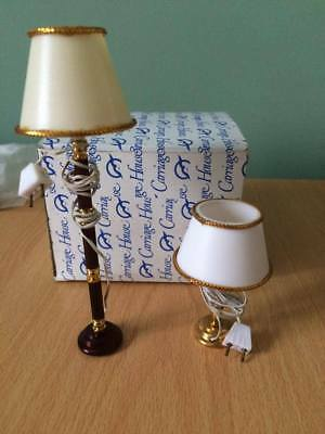 Dolls House Miniatures Lighting Table Lamp & Standard Lamp 1/12Th ?