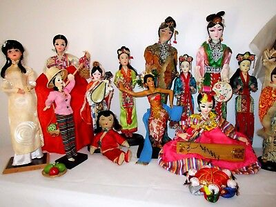 20 Dolls In Asian National Costumes & Chinese Men w Black Ponytails Pincushion