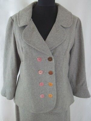 TRUE VINTAGE 1960s Kendal Milne/Mono Grey SKIRT & JACKET SUIT W/Mirrored Buttons