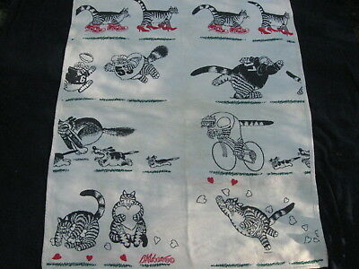 "Vintage 1990 B. KLIBAN CATS BLANKET THROW - 48"" Wide x 60"" Long, REVERSIBLE"