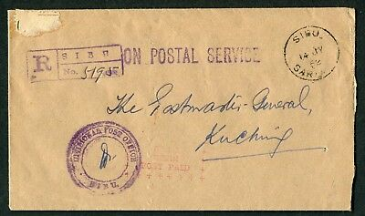 Sarawak: SIBU 2 OFFICIAL POST PAID mark on unstamped 1952 envelope Sibu-Kuching