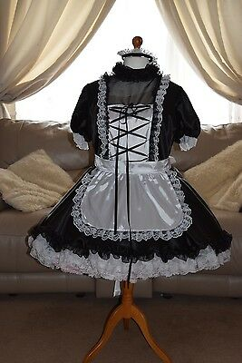 Gorgeous Black Satin Adult Sissy Maids dress with white apron & black trim xxl