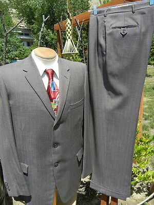 Vintage 1950s Flannel Check 3 Button Suit 44L 35x31  The Hollywood CURLEE ATWOOD
