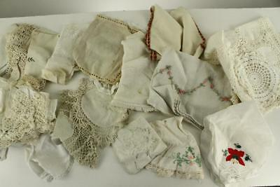 Vintage Decor Lot Lines & Textile Fabric Napkins Hankies Doilies Embroidery