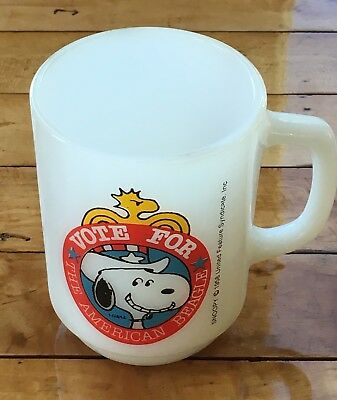 Vintage Fire King Mug Cup Vote For The American Beagle Snoopy Peanuts